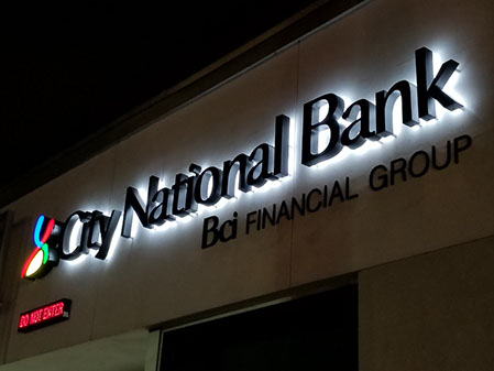 channel letter signs lit channel letters 20810 | city national bank back lit night